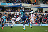 Adebayo Akinfenwa of Wycombe Wanderers watches the ball pass during the Sky Bet League 2 match between Wycombe Wanderers and Barnet at Adams Park, High Wycombe, England on 22 October 2016. Photo by Andy Rowland.