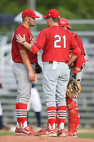 Johnson City Cardinals pitching coach Timothy Leveque (21) has a chat with pitcher Adam Veres (57) and catcher Jack Cawley (19) at Dan Daniels Park in Danville, VA, Sunday July 27, 2008.