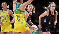11.10.2017 Silver Ferns Gina Crampton in action during the Constellation Cup netball match between the Silver Ferns and Australia at Titanium Security Arena in Adelaide. Mandatory Photo Credit ©Michael Bradley.
