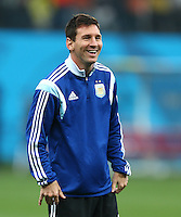 Lionel Messi of Argentina smiles during the warm up