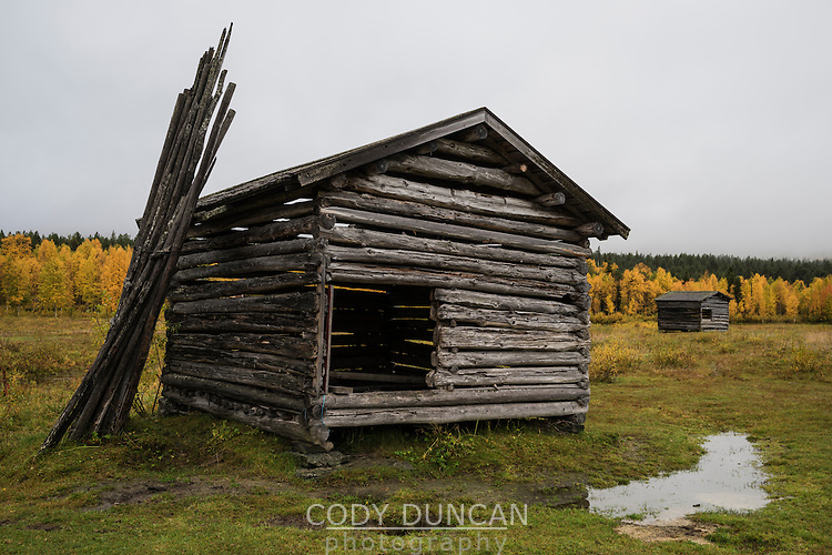 Old Farm building in field, Ammarnäs, Lapland, Sweden