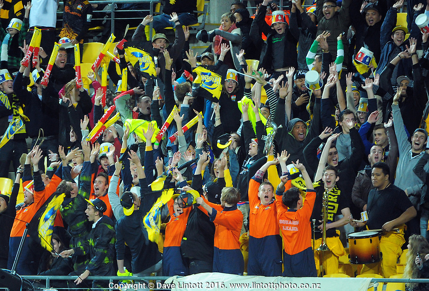 Fans perform a Mexican Wave during the Super Rugby match between the Hurricanes and Chiefs at Westpac Stadium, Wellington, New Zealand on Saturday, 23 April 2016. Photo: Dave Lintott / lintottphoto.co.nz