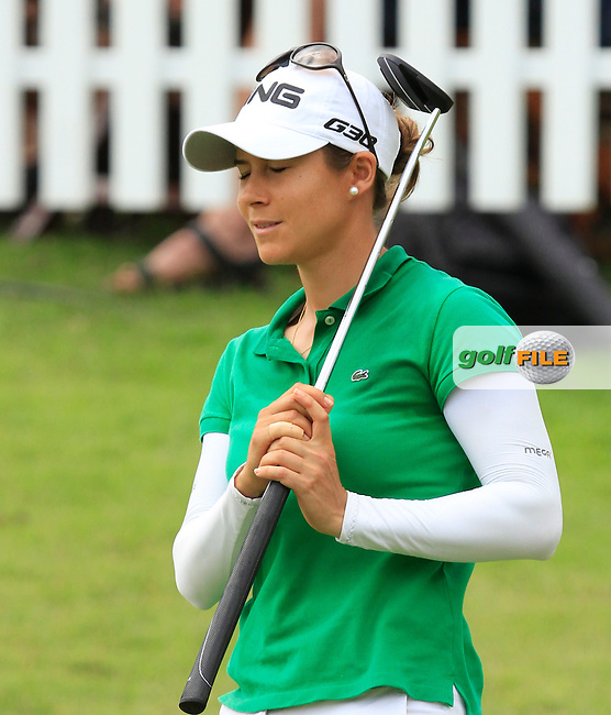 Azahara Munoz (ESP) on the 17th green during Round 3 of the HSBC Women's Champions at the Sentosa Golf Club, The Serapong Course in Singapore on Saturday 7th March 2015.<br /> Picture:  Thos Caffrey / www.golffile.ie