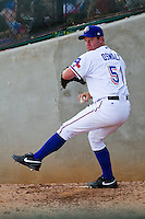 Texas Rangers pitcher Roy Oswalt #51 throws in the bullpen after his rehab start with the Round Rock Express during the Pacific Coast League baseball game against the Albuquerque Isotopes on June 2, 2012 at The Dell Diamond in Round Rock, Texas. (Andrew Woolley/Four Seam Images)