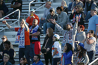 Piscataway, NJ, April 24, 2016.  Members of Sky Blue's official fan group, Cloud Nine, lead cheers from the bleachers.  The Washington Spirit defeated Sky Blue FC 2-1 during a National Women's Soccer League (NWSL) match at Yurcak Field.