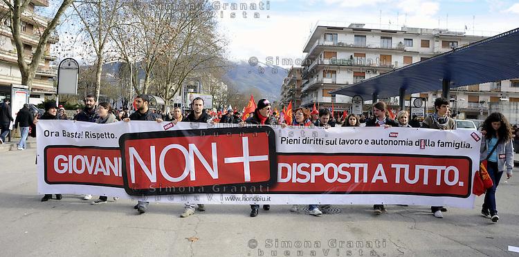 Cassino, 28 Gennaio 2011.Sciopero metalmeccanici e manifestazione in difesa del contratto nazionale e contro il modello Marchionne