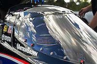 Jan. 16, 2013; Jupiter, FL, USA: NHRA top top fuel dragster driver Antron Brown during testing at the PRO Winter Warmup at Palm Beach International Raceway.  Mandatory Credit: Mark J. Rebilas-