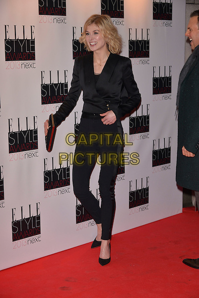 Rosamund Pike.The Elle Style Awards 2013 arrivals, The Savoy Hotel, London, England..11th February 2013.full length black trousers blazer clutch bag.CAP/PL.©Phil Loftus/Capital Pictures