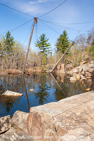 Wooden derrick at the abandoned Redstone Granite quarry in Conway, New Hampshire. This quarry opened in the late eighteen hundreds and closed in the nineteen forties.