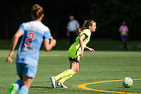Seattle, WA - Sunday, May 22, 2016: Seattle Reign FC defender Lauren Barnes (3) looks for a pass during a regular season National Women's Soccer League (NWSL) match at Memorial Stadium. Chicago Red Stars won 2-1.