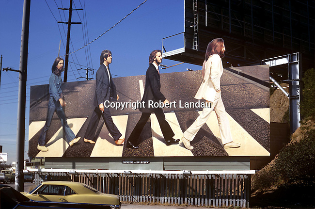 Billboard for Beatles album Abbey Road on the Sunset Strip in Los Angeles, CA