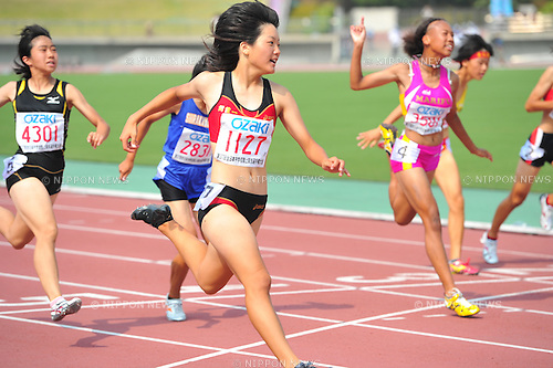 Anna Doi (Asaka-Daiichi), .AUGUST 23, 2010 - Athletics : .37th National Junior High School Athletics Championships Women 100m at Tottori Prefectural Fuse Sports Park Athletic Stadium in Tottori, Japan. (Photo by Jun Tsukida/AFLO SPORT)