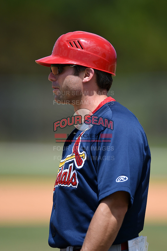 St. Louis Cardinals Chris Swauger during a minor league spring training game against the New York Mets on April 1, 2015 at the Roger Dean Complex in Jupiter, Florida.  (Mike Janes/Four Seam Images)