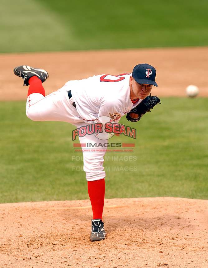 Pawtucket Red Sox' starting pitcher Michael Bowden at McCoy Stadium,April 20, 2009 in Pawtucket, RI (Photo by Ken Babbitt/Four Seam Images)
