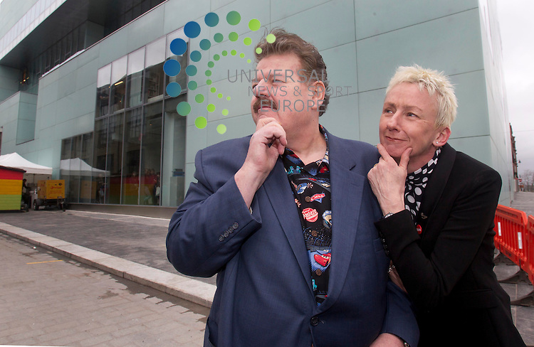Scottish actor Robbie Coltrane with Muriel Gray during the opening of a new &pound;30m building at Glasgow School of Art (GSA).<br /> The Reid Building, designed by US architect Steven Holl, is named after GSA's first female director Dame Seona Reid, who stepped down in 2013.<br /> It is equipped with studios, a gallery and new visitor centre.<br /> Harry Potter star Coltrane will be joined at the opening ceremony by more than 2,000 past and current students, staff and friends of GSA.<br /> A new choral work, Making it New, with music by composer Ken Johnston and words from Scotland's Makar, and former GSA student, Liz Lochhead, will be premiered at the event. <br /> Scottish writer and broadcaster Muriel Gray, a former student and current chairwoman of the GSA board of directors, will sing in the performance. <br /> Picture: Universal News And Sport (Scotland) 9 April 2014.