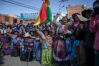 Indigenous female supporters of Bolivian ex-President Evo Morales complain during clashes with security forces in El Alto, on the outskirts of La Paz, Bolivia. Morales's backers have taken to the streets demanding the resignation of auto-proclaimed president Jeanine Añez and the return of Morales who resigned on Nov. 10 under pressure from the military after weeks of protests against him over a disputed election that he claimed to have won. November 19, 2019.<br /> Des femmes autochtones qui soutiennent l'ancien président bolivien Evo Morales se plaignent lors d'affrontements avec les forces de sécurité à El Alto, dans la banlieue de La Paz, en Bolivie. Les partisans de Morales sont descendus dans la rue pour exiger la démission du président autoproclamé Jeanine Añez et le retour de Morales qui a démissionné le 10 novembre sous la pression des militaires après des semaines de protestations contre lui suite à une élection contestée qu'il prétend avoir gagnée. 19 novembre 2019.