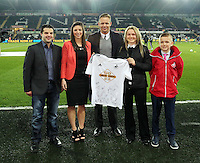 SWANSEA, WALES - MARCH 16: Sponsor with Lee Trundle<br />