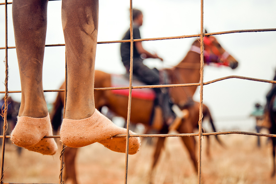 Boy watches on as Horses and Riders prepare for a race