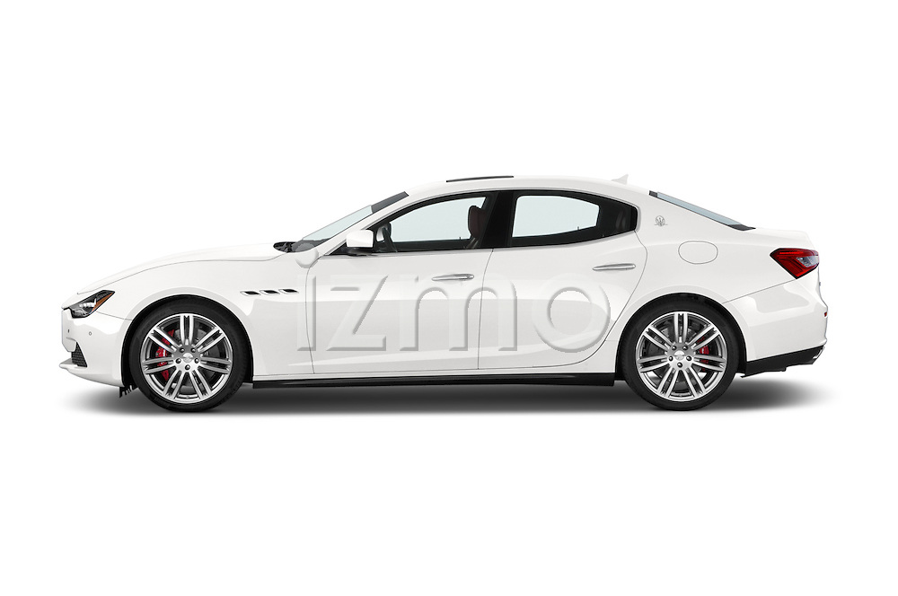 Car Driver side profile view of a 2014 Maserati Ghibli Base 4 Door Sedan Side View