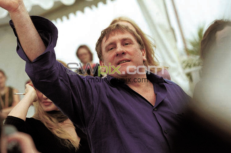 """Pix: Richard Moran/SWPIX........Cannes Film Festival 2000.10/05/00...COPYWRIGHT PICTURE>>SIMON WILKINSON>>01943 436649>>..French Star Gerard Deperdieu on top of """"The Riviera"""" the new photo call venue promoting the movie  """"Vatel""""  the opening  film of The 53rd Cannes film Festival, the movie premiers this evening."""