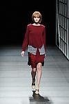 Model, Mar 21, 2014 : DHL Designer Award winning Japanese designer Yasutoshi Ezumi. Autumn Winter 2014-15. Mercedes Benz Fashion Week Tokyo.