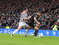 Paul McGowan closes down Kelvin Wilson in the St Mirren v Celtic Scottish Communities League Cup Semi Final match played at Hampden Park, Glasgow on 27.1.13.