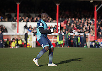 Adebayo Akinfenwa of Wycombe Wanderers celebrates his team equalising through an own goal during the Sky Bet League 2 match between Grimsby Town and Wycombe Wanderers at Blundell Park, Cleethorpes, England on 4 March 2017. Photo by Andy Rowland / PRiME Media Images.