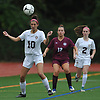Cailey Welch #10 North Shore makes a header during a Nassau County varsity girls soccer match against Garden City at North Shore High School on Monday, Sept. 18, 2017. North Shore won by a score of 2-1.