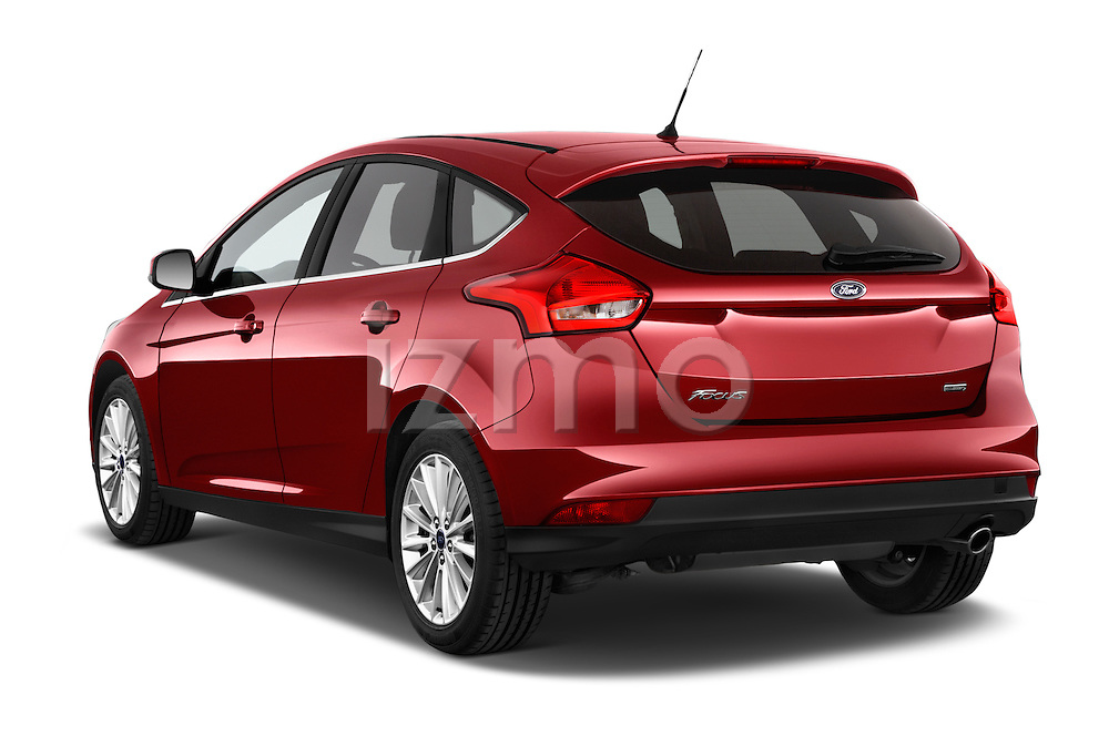 Car pictures of rear three quarter view of a 2015 Ford Focus Titanium 5 Door Hatchback Angular Rear