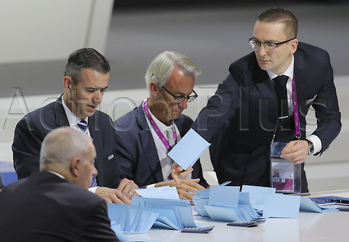 26.02.2016. Zurich, Switzerland. Officials count ballots during the second round of voting at the Extraordinary FIFA Congress 2016 at the Hallenstadion in Zurich, Switzerland, 26 February 2016. The Extraordinary FIFA Congress is being held in order to vote on the proposals for amendments to the FIFA Statutes and choose the new FIFA President.