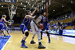 19 December 2014: Duke's Elizabeth Williams (1) is defended by UMass Lowell's Lauren Parra (32) and Shannon Samuels (13). The Duke University Blue Devils hosted the University of Massachusetts Lowell River Hawks at Cameron Indoor Stadium in Durham, North Carolina in a 2014-15 NCAA Division I Women's Basketball game. Duke won the game 95-48.
