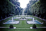 At Longwood Gardens in Kennett Square, Pennsylvania, the Italian Water Garden is enclosed by pruned littleaf linden trees and clipped ivy.  Within the garden, 18 blue-tiled pools catch water from 600 water jets.