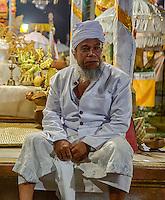 Bali, Indonesia.  Hindu Priest, Pura Dalem Temple, Dlod Blungbang Village.