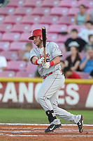 Chuck Moorman #16 of the Spokane Indians bats against the Salem-Keizer Volcanoes at Volcanoes Stadium on July 26, 2014 in Keizer, Oregon. Spokane defeated Salem Keizer, 4-1. (Larry Goren/Four Seam Images)