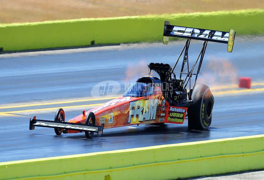 Sept. 24, 2011; Ennis, TX, USA: NHRA top fuel dragster driver Spencer Massey during qualifying for the Fall Nationals at the Texas Motorplex. Mandatory Credit: Mark J. Rebilas-