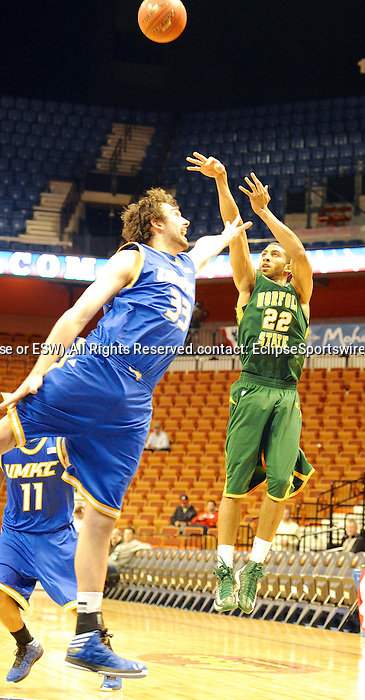 UMKC defeats Norfolk State 63-57 in the consolation game of the Springfield bracket of the Basketball Hall of Fame Tip-Off Tournamnent on November 18, 2012 at Mohegan Sun Arena in Uncasville, Connecticut.  (Bob Mayberger/Eclipse Sportswire)