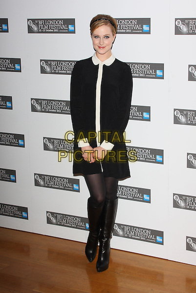 Evan Rachel Wood.Photocall ahead of the The 55th BFI London Film Festival screening of 'The Ides Of March', Odeon West End, London, England..October 19th 2011.LFF full length dress boots tights black white collar alice band .CAP/ROS.©Steve Ross/Capital Pictures.
