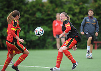 20140715 - Strømmen , NORWAY : Belgian Lucinda Michez (right) pictured during the female soccer match between Women under 19 teams of  Belgium and Scotland , on the first matchday in group A of the UEFA Women Under19 European Championship at Strommen Stadion , Norway . Tuesday 15th July 2014 . PHOTO DAVID CATRY