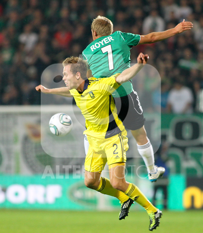 28.07.2011, Keine Sorgen Arena, Ried im Innkreis, AUT, UEFA EL Qualifikation, SV Josko Ried vs Brondby IF, im Bild(v.l.n.r.)Anders Randrup, (Brøndby IF, Defense, #2) und Daniel Royer, (SV Josko Ried, #7) // during football match between SV Josko Ried (AUT) and Brondby IF (DEN) 1st Leg of Europa League third Qualifying Round, on July 28, 2011 at Keine Sorgen Arena Ried im Innkreis, Austria. EXPA Pictures © 2011, PhotoCredit: EXPA/ R. Hackl