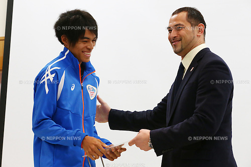 (L-R)<br /> Takeru Iwamoto,<br /> Koji Murofushi,<br /> JANUARY 9, 2015 - Athletic : <br /> Certification ceremony of Diamond athletes is held at Ajinomoto National Training Center, Tokyo, Japan.<br /> Diamond athletes is players who would play an active part in Tokyo Olympic 2020.<br /> (Photo by Shingo Ito/AFLO SPORT) [1195]