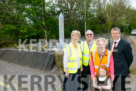The first phase of a new Heritage trail developed by Tralee Tidy towns and Tidy Tralee Together. A new stone obelisk to signpost the way to Scotia's Grave at Foley's Glen. Pictured  Mairead Fernane, Tim Guiheen, Mary O'Brien. Pa Day and Farren Ni Dhálaigh