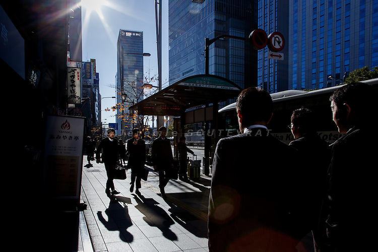Tokyo, December 12 2012 - Office workers in the Nihonbashi area.