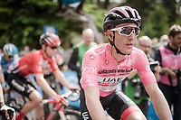 Maglia Rosa / overall leader Valerio Conti (ITA/UAE-Emirates) arriving at the finish in L'Aquila<br /> <br /> Stage 7: Vasto to L'Aquila (180km)<br /> 102nd Giro d'Italia 2019<br /> <br /> ©kramon