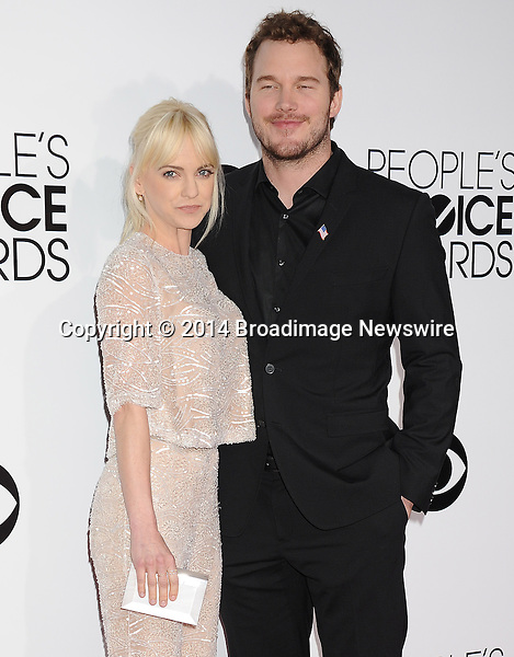 Pictured: Anna Faris,  Chris Pratt<br /> Mandatory Credit &copy; Gilbert Flores /Broadimage<br /> 2014 People's Choice Awards <br /> <br /> 1/8/14, Los Angeles, California, United States of America<br /> Reference: 010814_GFLA_BDG_196<br /> <br /> Broadimage Newswire<br /> Los Angeles 1+  (310) 301-1027<br /> New York      1+  (646) 827-9134<br /> sales@broadimage.com<br /> http://www.broadimage.com