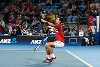 12th January 2020; Sydney Olympic Park Tennis Centre, Sydney, New South Wales, Australia; ATP Cup Australia, Sydney, Day 10; Serbia versus Spain; Novak Djokovic of Serbia falls to the ground after Team Serbia win the doubles match and the ATP Cup - Editorial Use