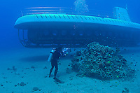 This diver (MR) is filming an Atlantis submarine off the coast of Maui, Hawaii.
