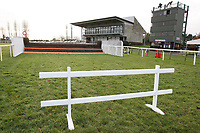 One of the two trestles used to block off the fence by the finish line which was jumped by mistake at the last meeting - Horse Racing at Fakenham Racecourse, Norfolk