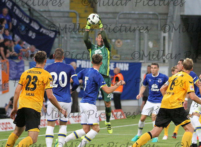 Martin Stekelenburg saves from a corner in the Dynamo Dresden v Everton match in the Bundeswehr Karriere Cup Dresden 2016 played at the DDV Stadion, Dresden on 29.7.16.