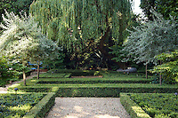 A large, mature willow tree creates a romantically melancholic atmosphere at one end of the garden