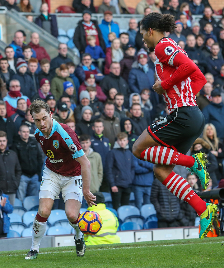 Southampton's Virgil van Dijk jumps to block a cross from Burnley's Ashley Barnes<br /> <br /> Photographer Alex Dodd/CameraSport<br /> <br /> The Premier League - Burnley v Southampton - Saturday 14th January 2017 - Turf Moor - Burnley<br /> <br /> World Copyright &copy; 2017 CameraSport. All rights reserved. 43 Linden Ave. Countesthorpe. Leicester. England. LE8 5PG - Tel: +44 (0) 116 277 4147 - admin@camerasport.com - www.camerasport.com